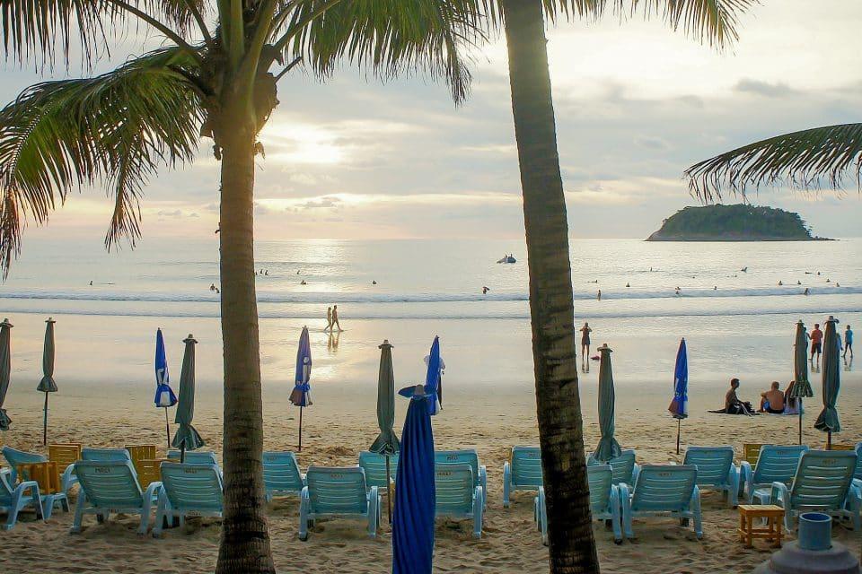 sunbeds on Kata Noi beach