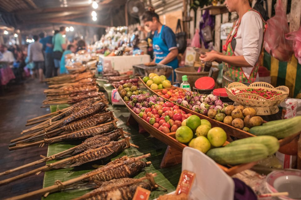 laos street food market