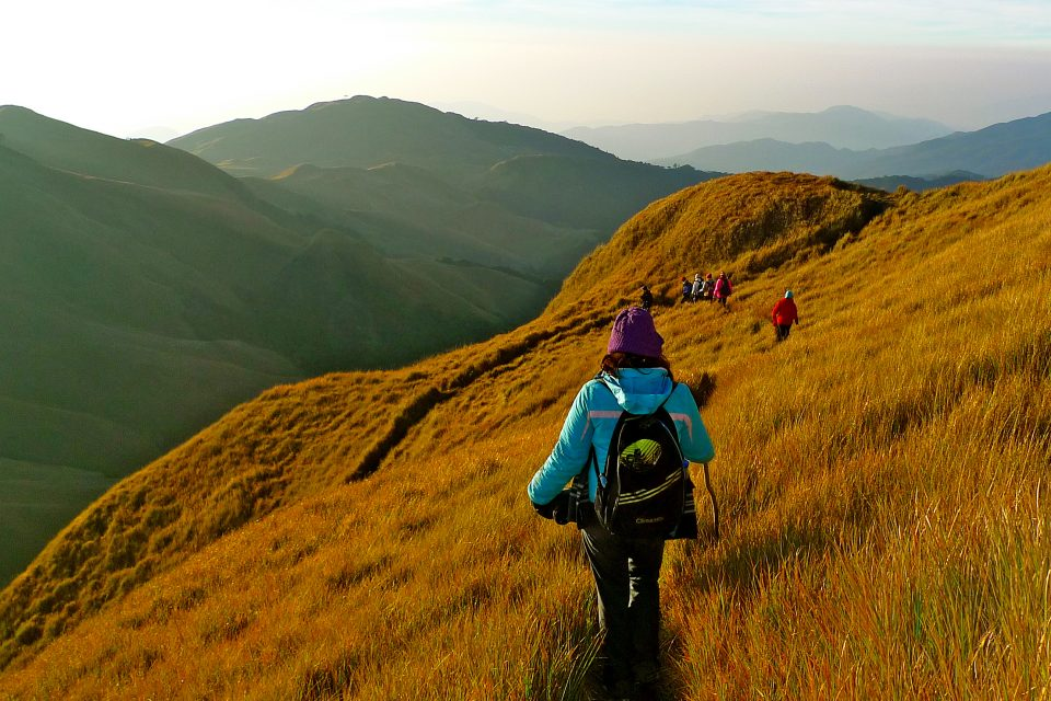 A group hiking mount pulag