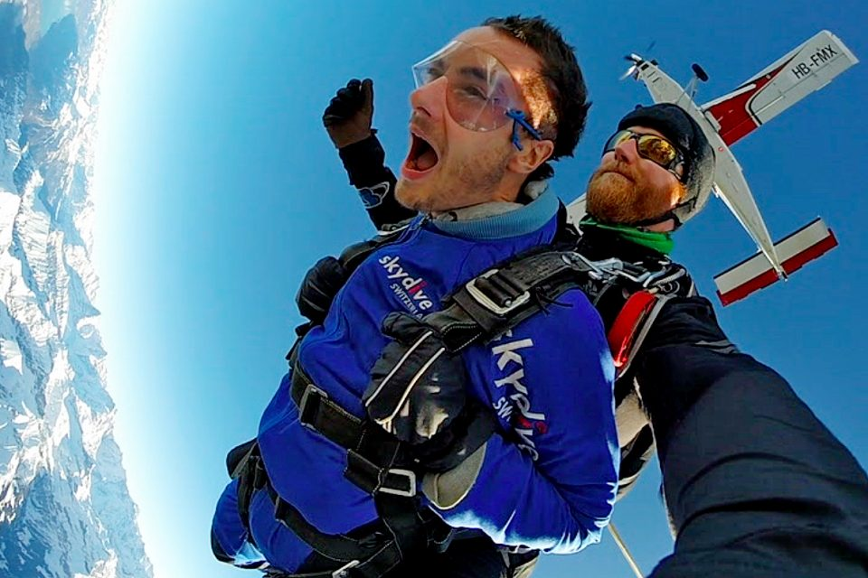 Two men skydiving