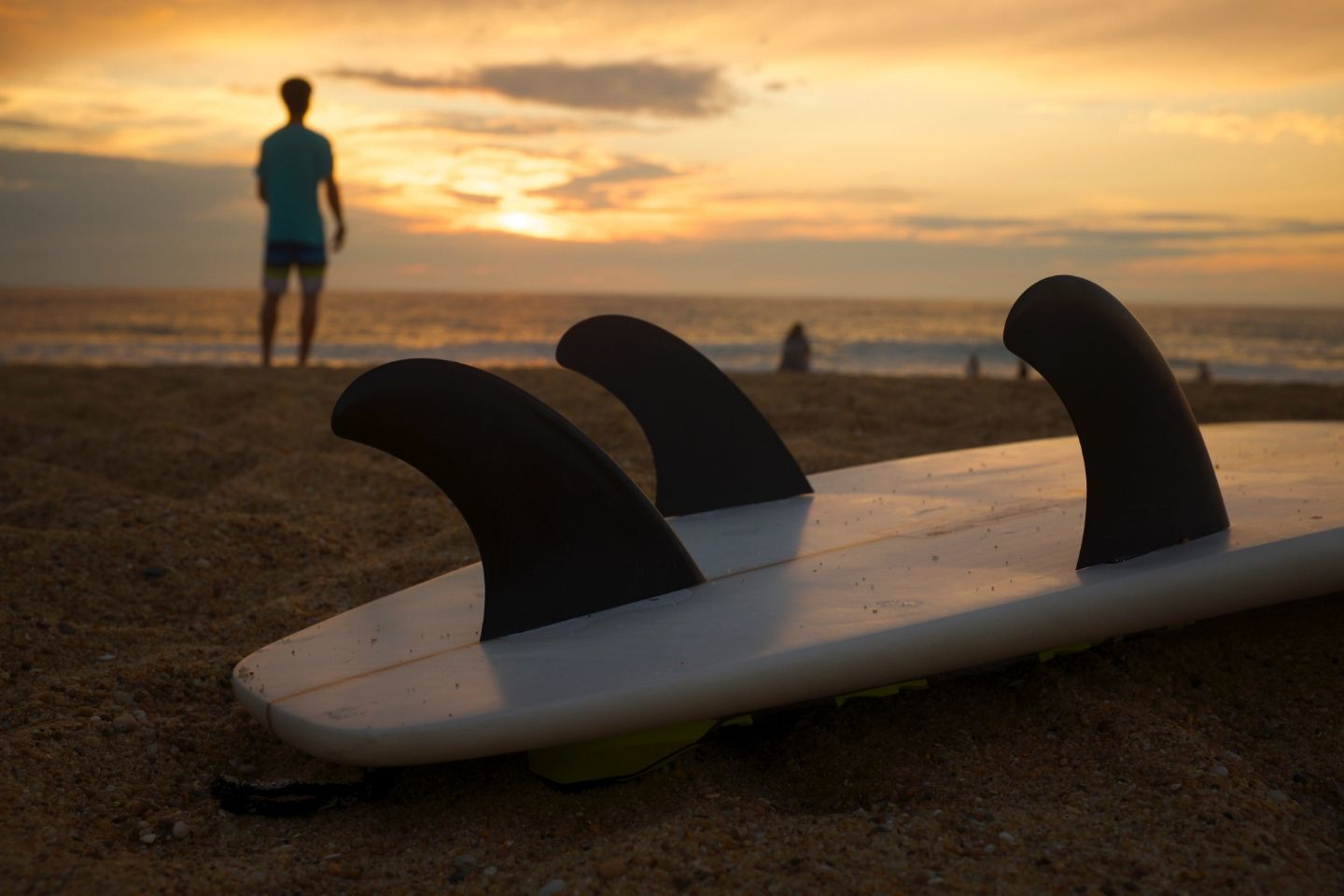 surfing in spain, sunset
