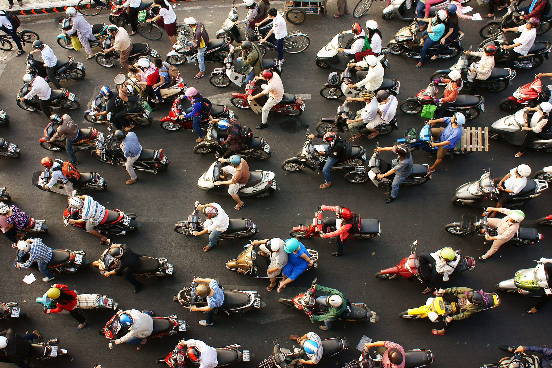 Ariel view of a lot of people on motorbikes