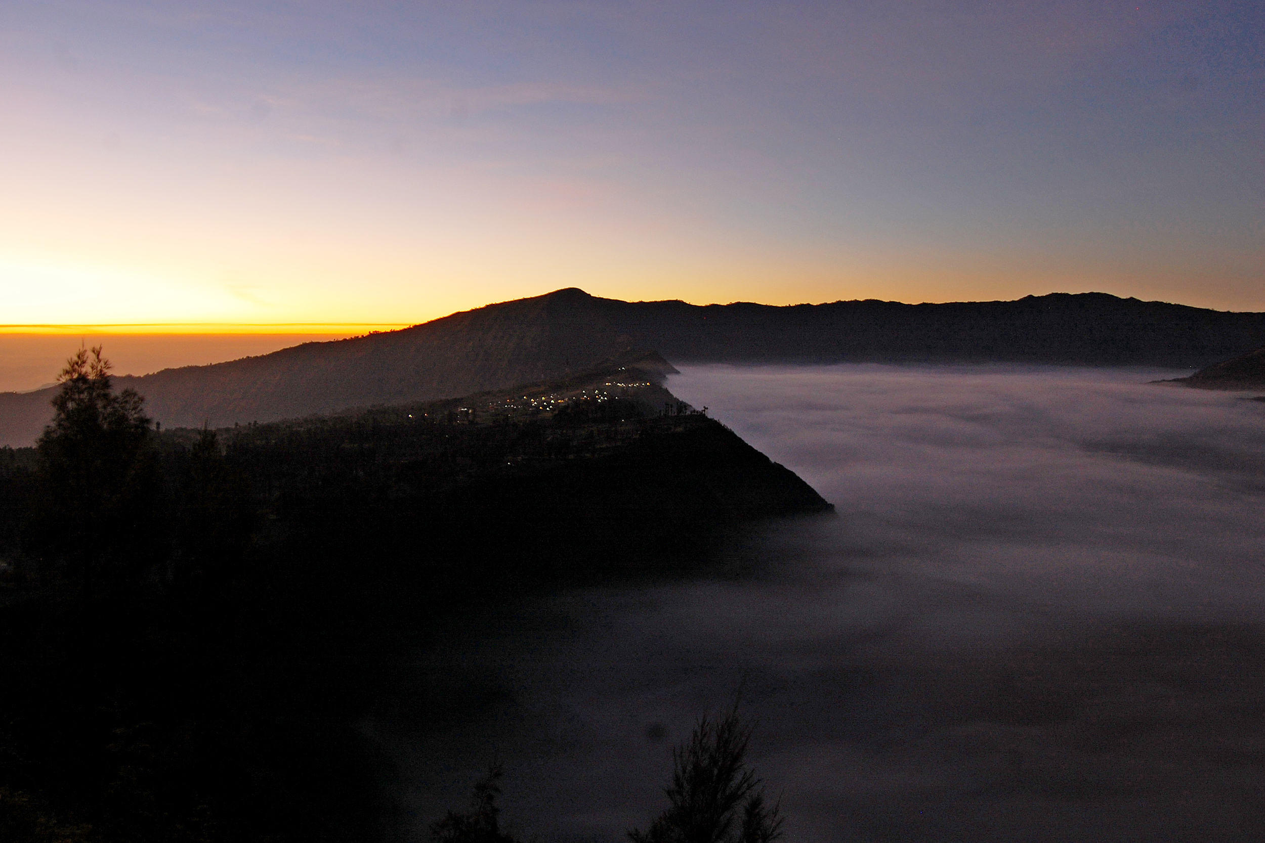 Views from the top of mount bromo at sunrise