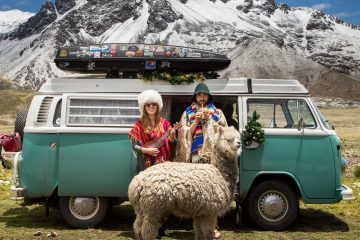 A couple standing in between a campervan and a lamma