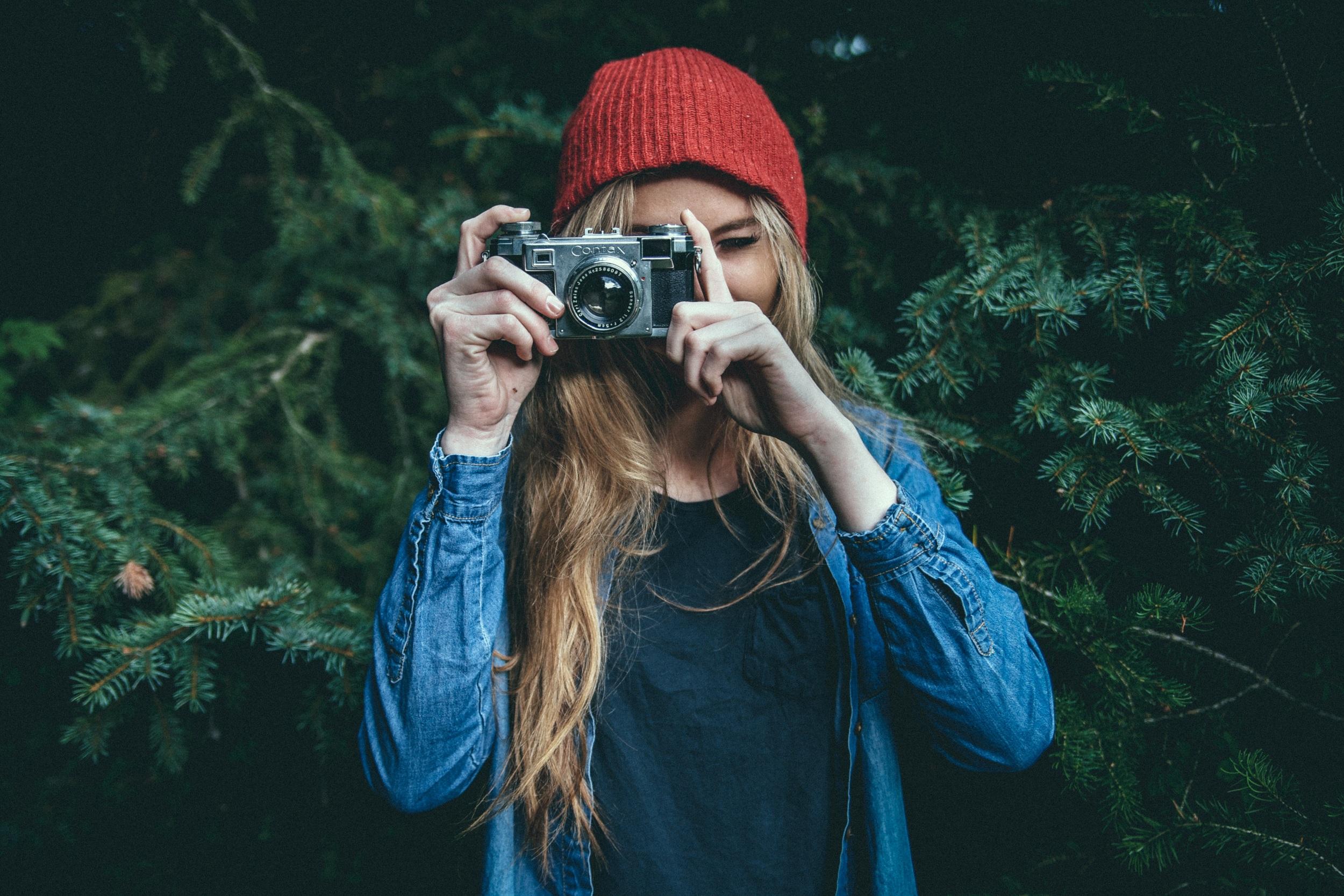hipster woman camera