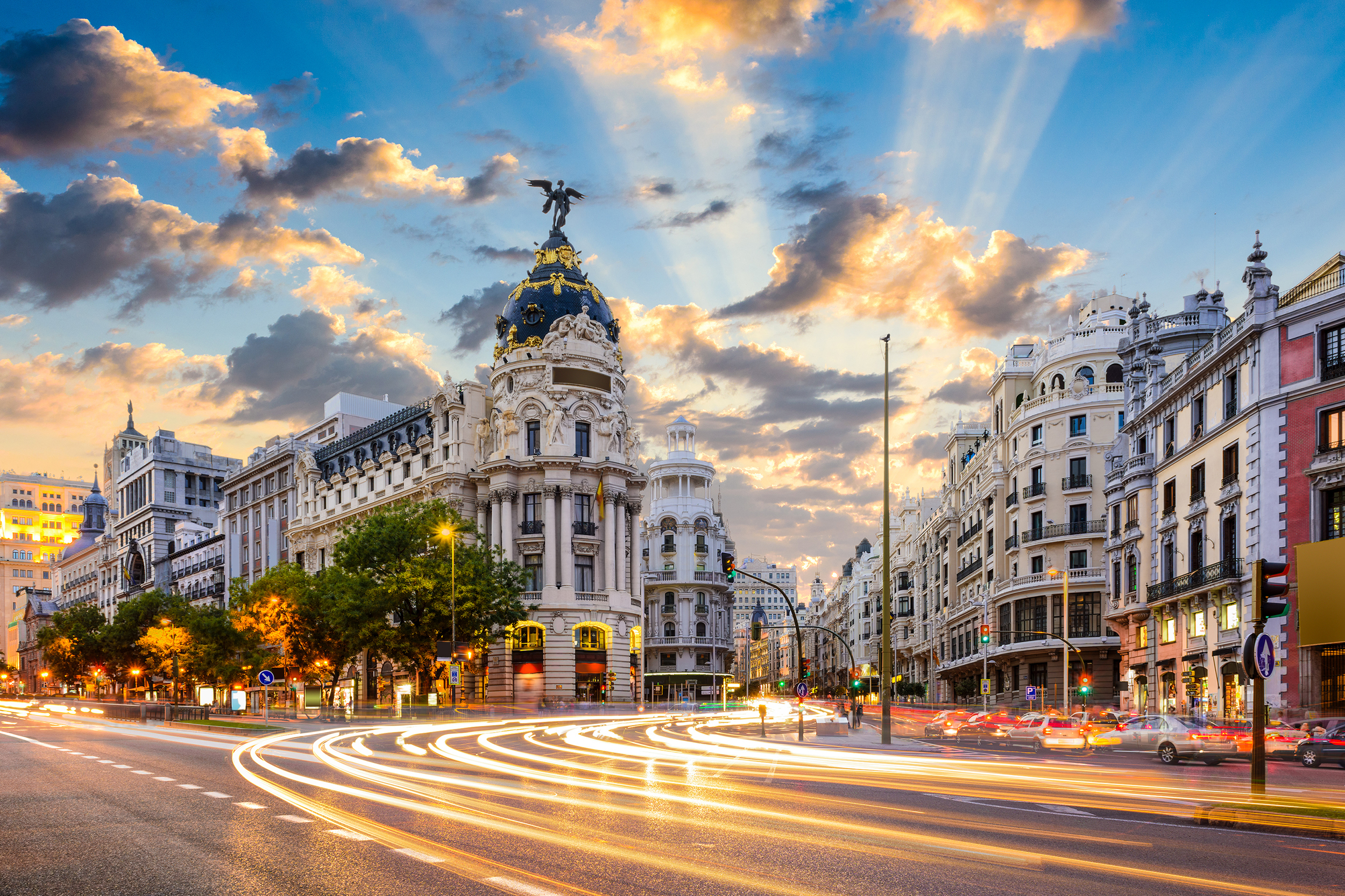 Buildings in Madrid at sunrise