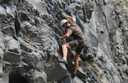 Tom rock climbing in Banos