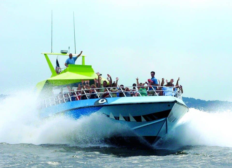 Speedboat on the River Hudson