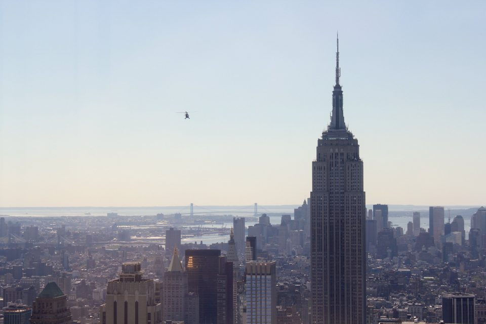 A helicopter over the New York skyline
