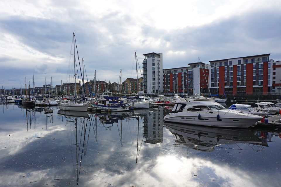 Boats moored in Swansea marina