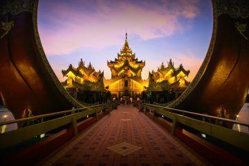 Temple at night in Myanmar