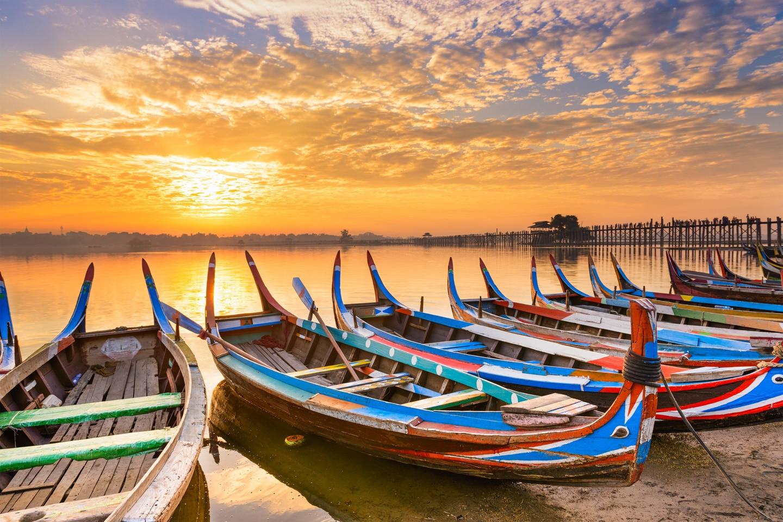 Boats on lake Inle in Myanmar