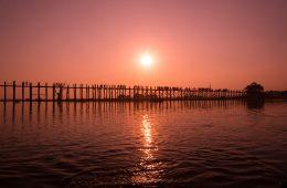 U-bein bridge at sunset in Myanmar