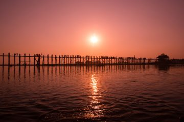 U-bein bridge at sunset in Myanmar