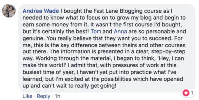 Blogging Fast Lane Testimonial