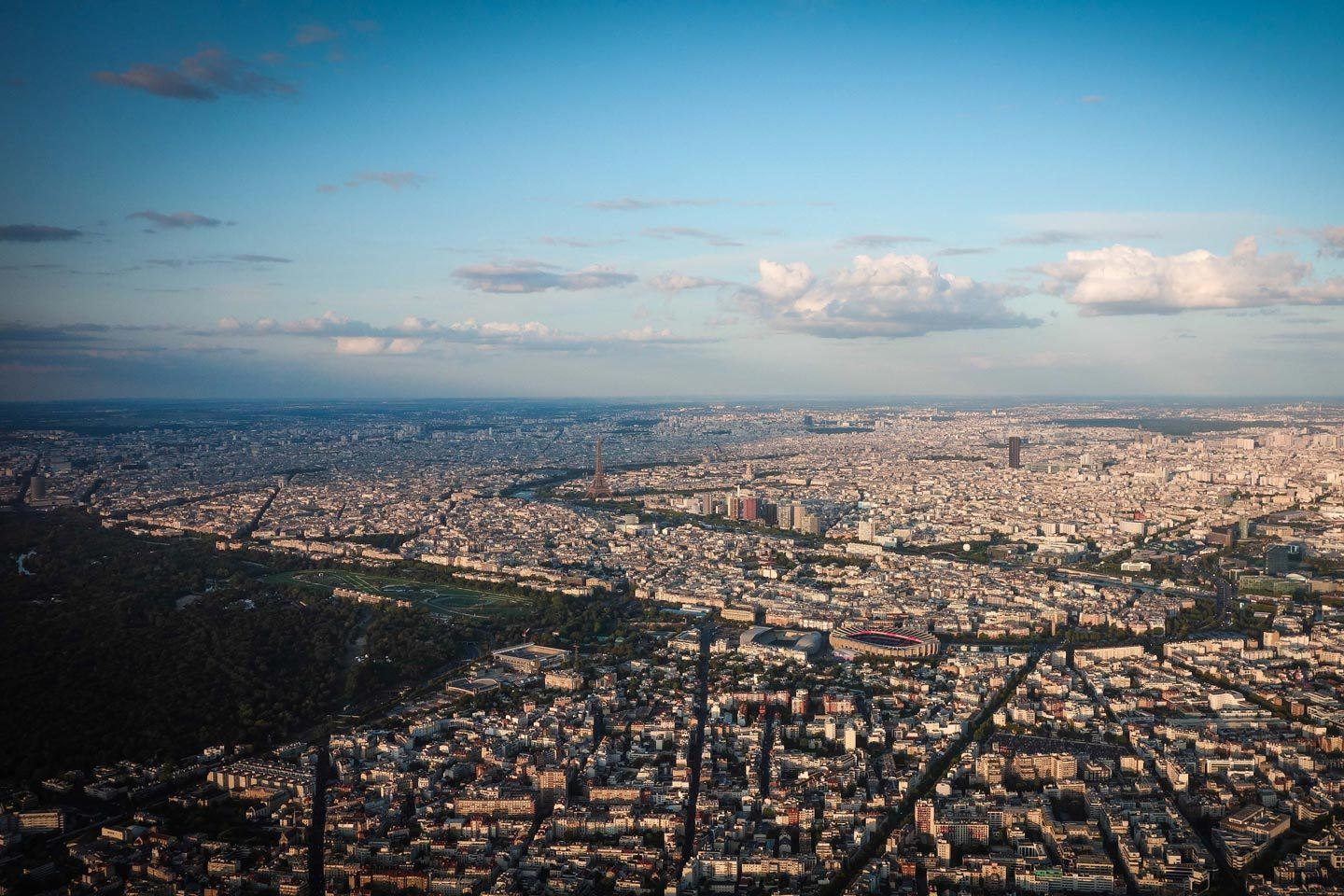Paris city from a helicopter