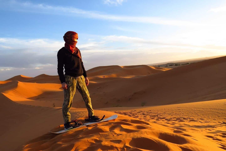 sandboarding in the desert