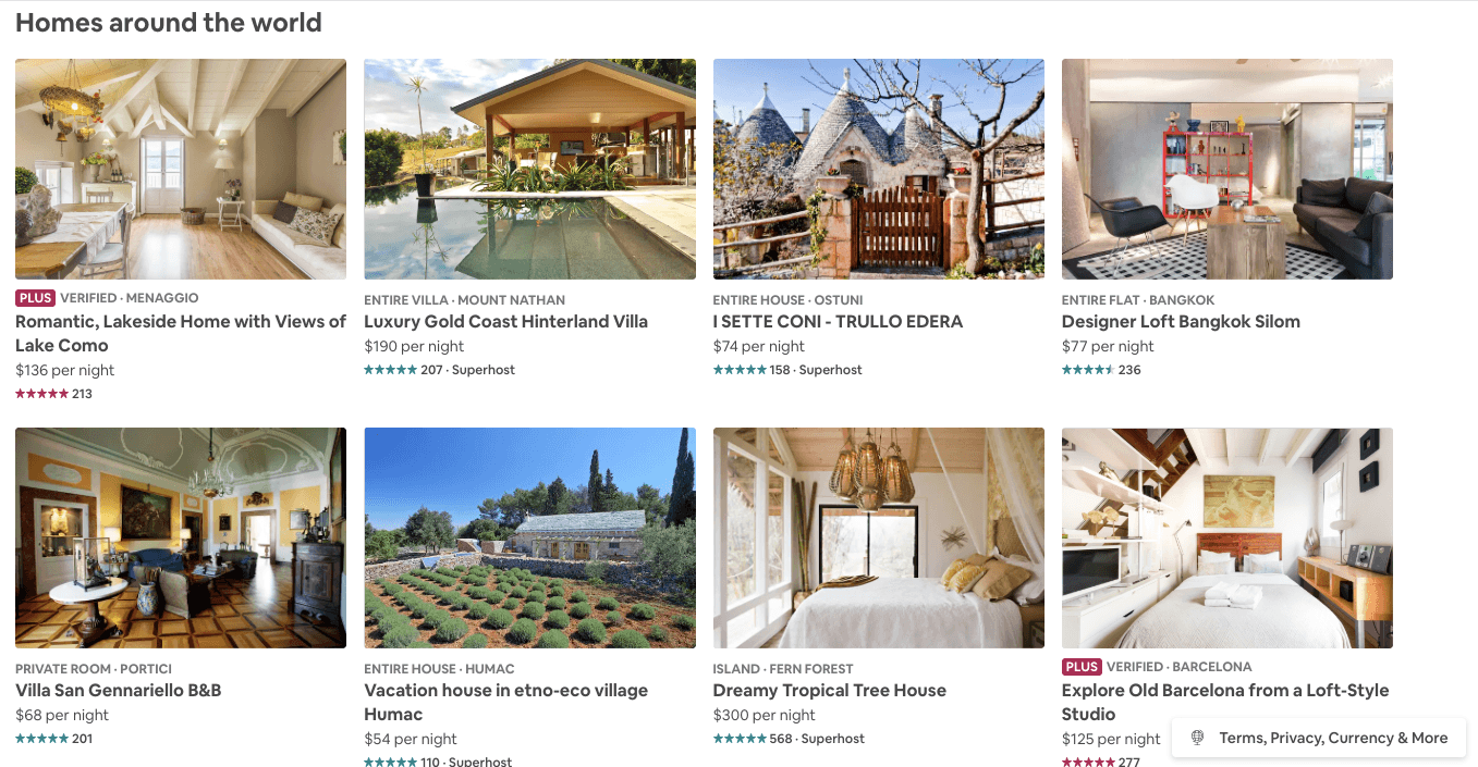 airbnbs around the world