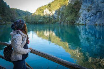 woman in plitvice lake