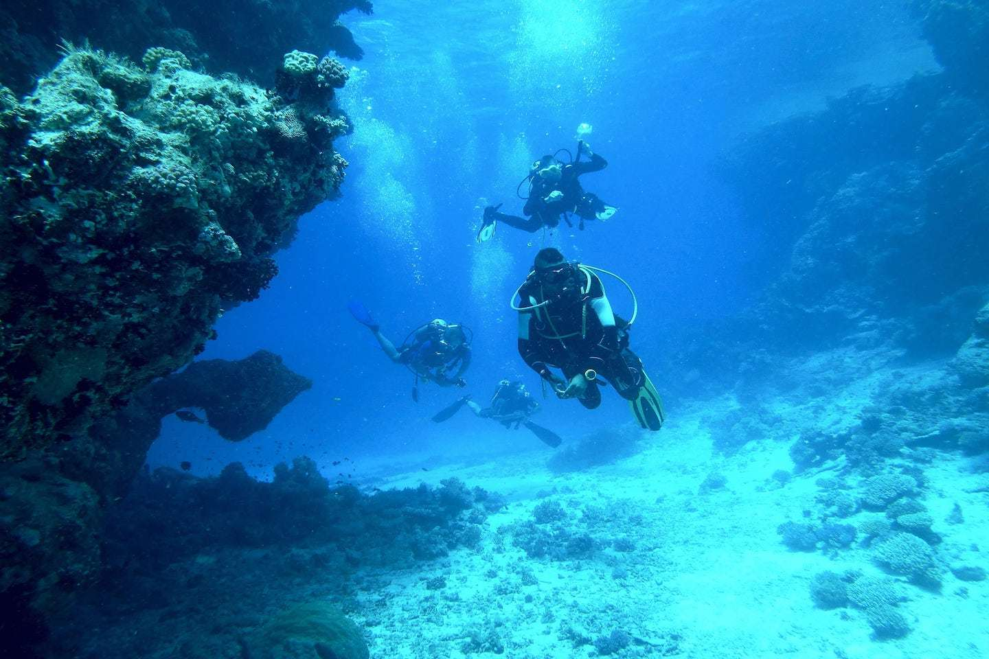 Scuba divers in deep water