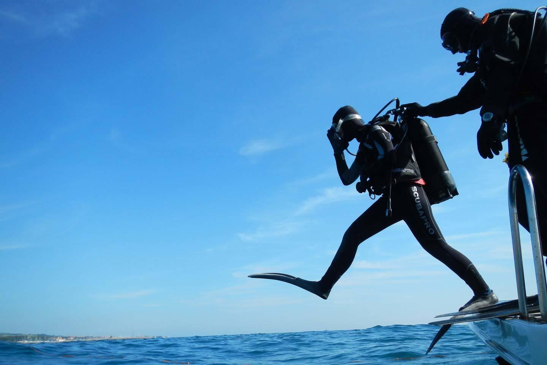 scuba diving jump