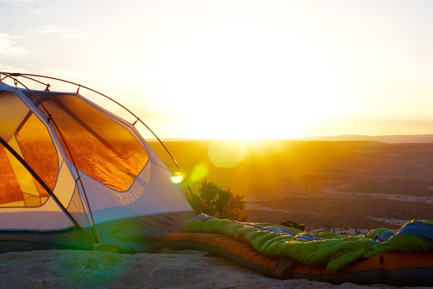 tent with sleeping bag
