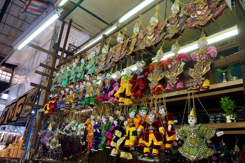 Goods being displayed at Bogyoke Aung San Market Yangon