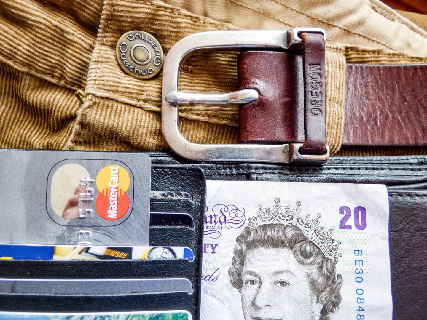 Belt and wallet with credit cards and cash