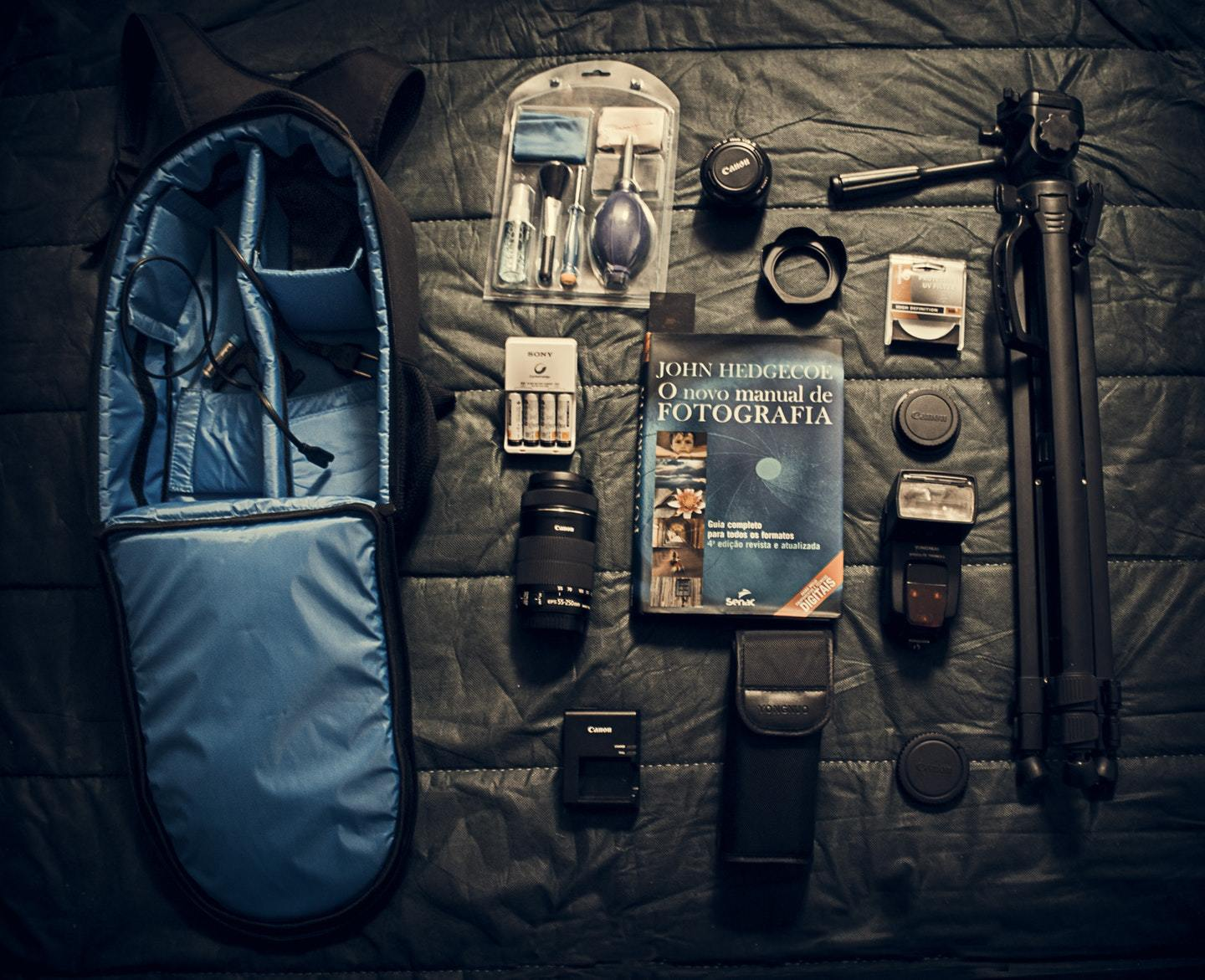 camera gear and backpack
