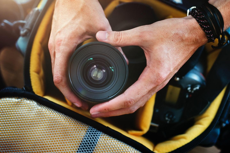camera equipment in bag