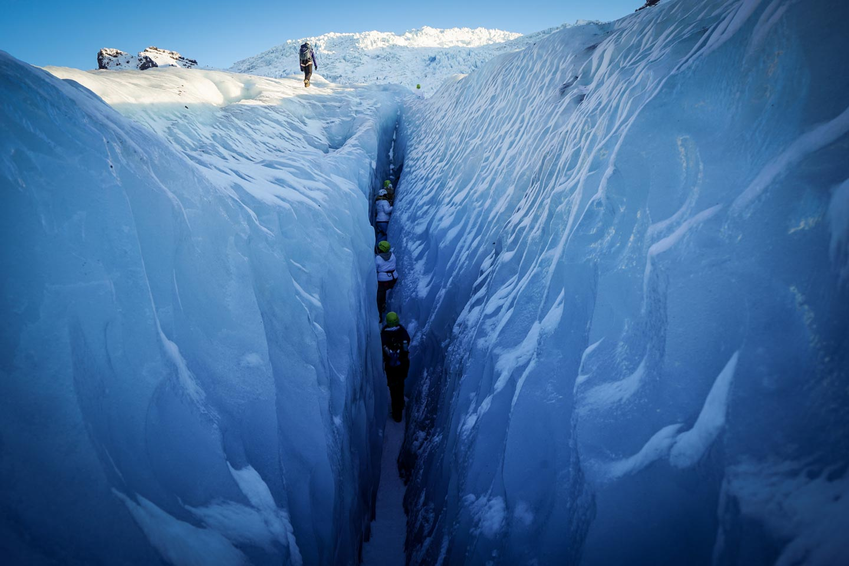 glacier hike ice crevase
