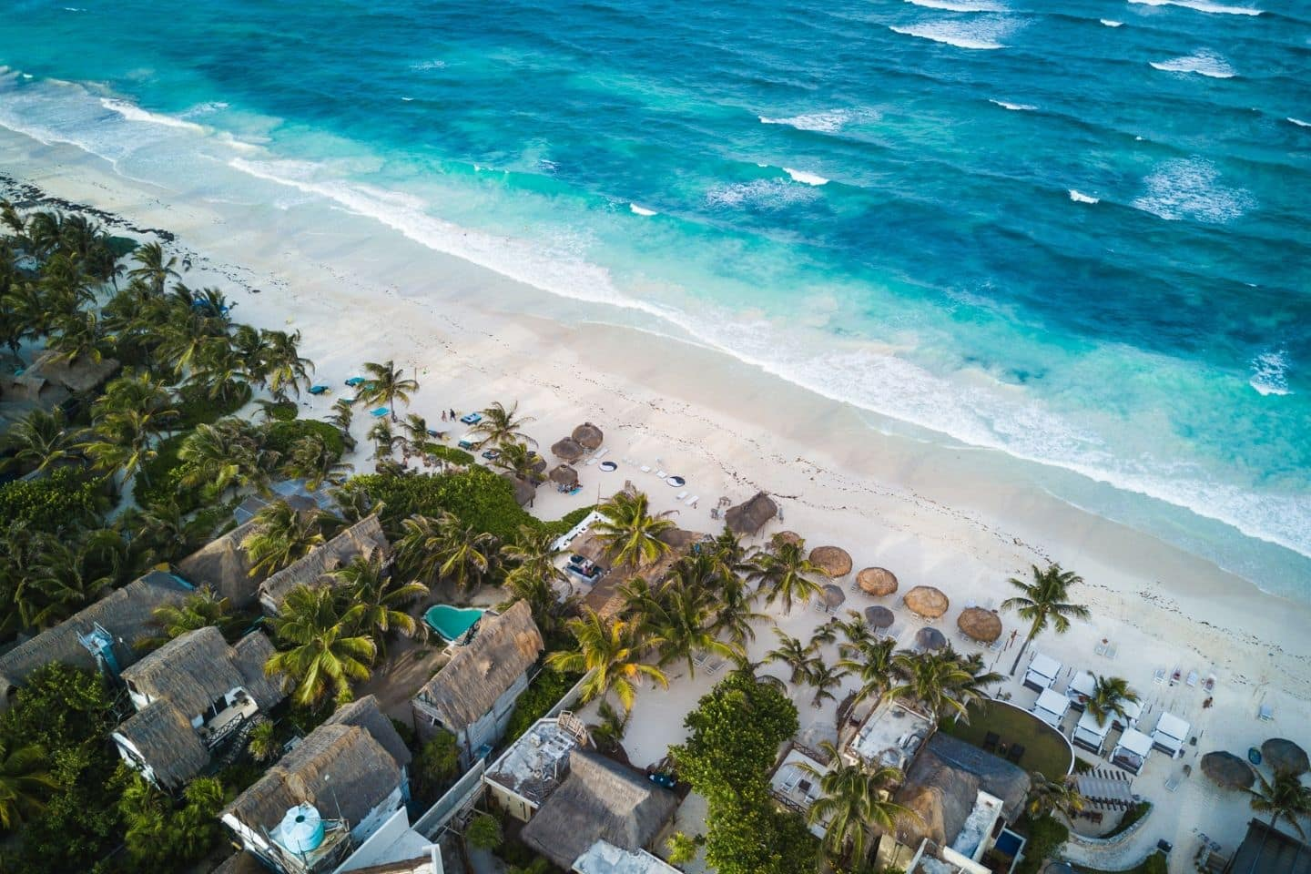 aerial view of tulum, mexico