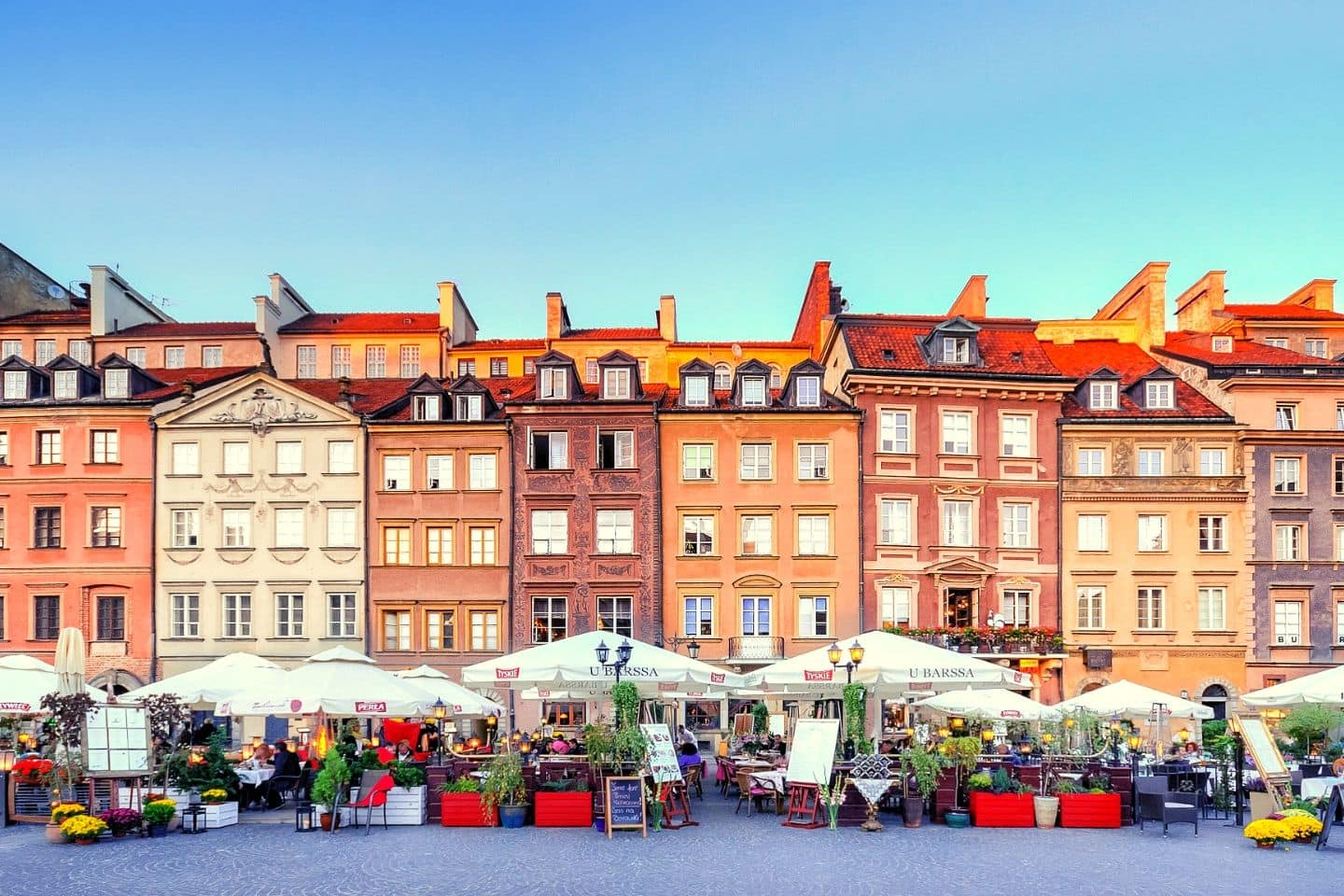 colorful buildings in warsaw's old town