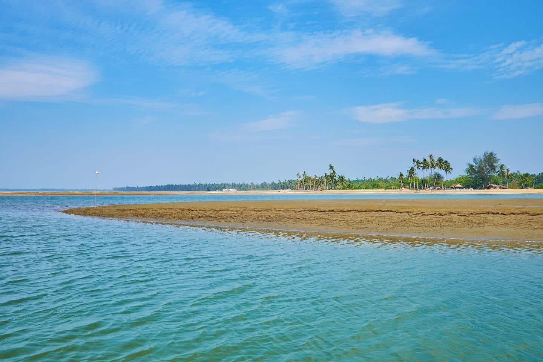 strip of sand in the ocean, ngwe saung beach
