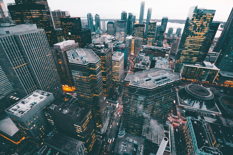 aerial view of buildings in big city