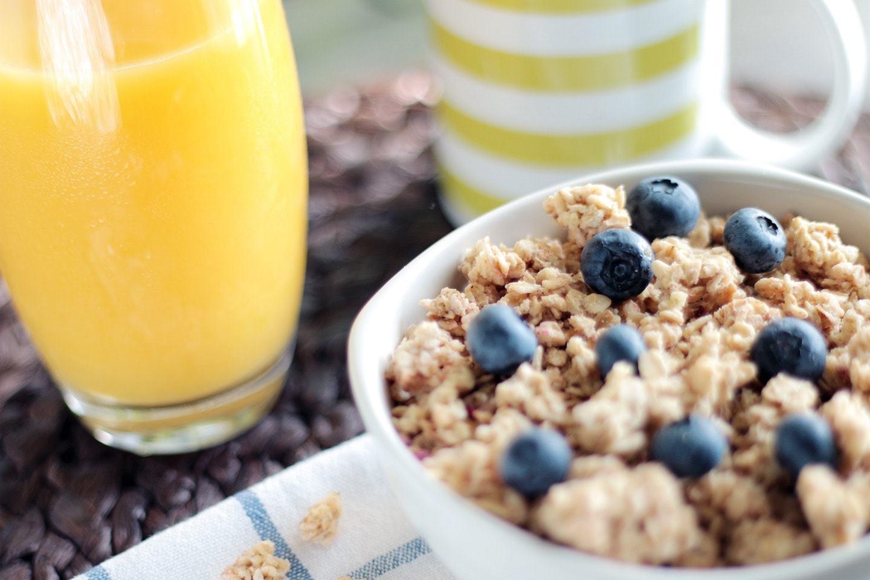 oatmeal, orange juice, coffee