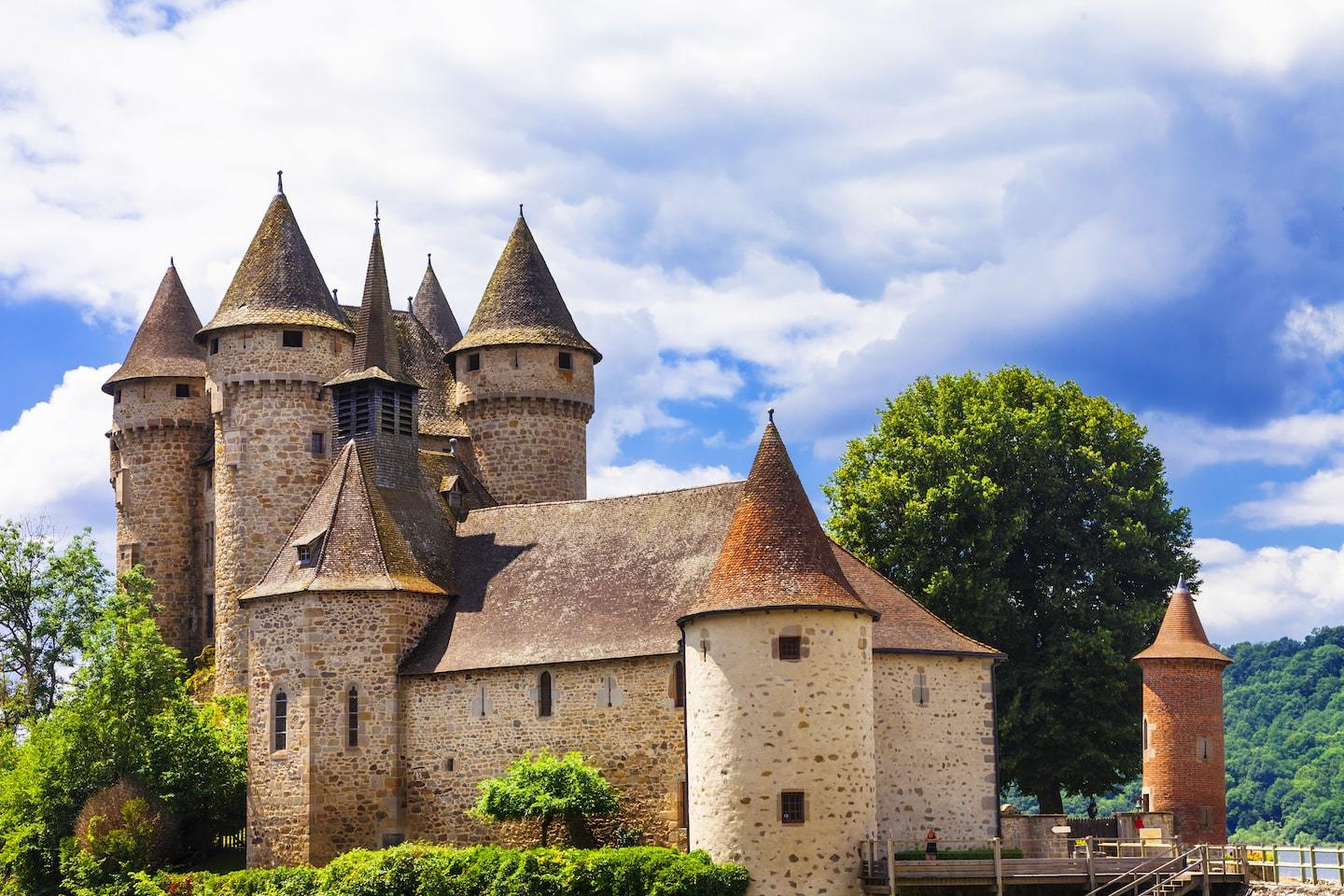 french castle with pointed towers