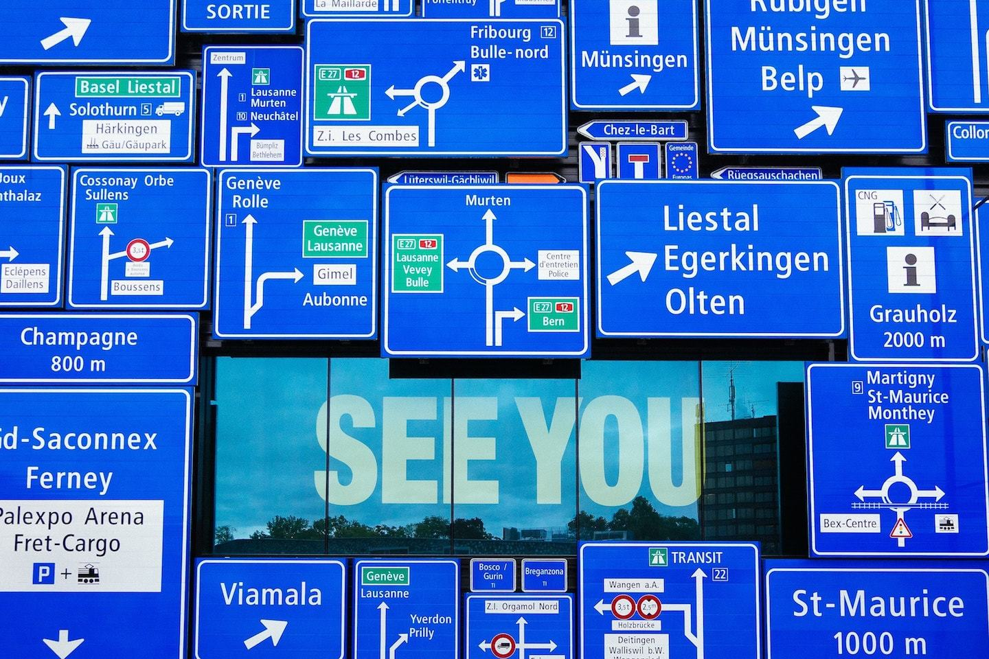 street signs at swiss museum of transport