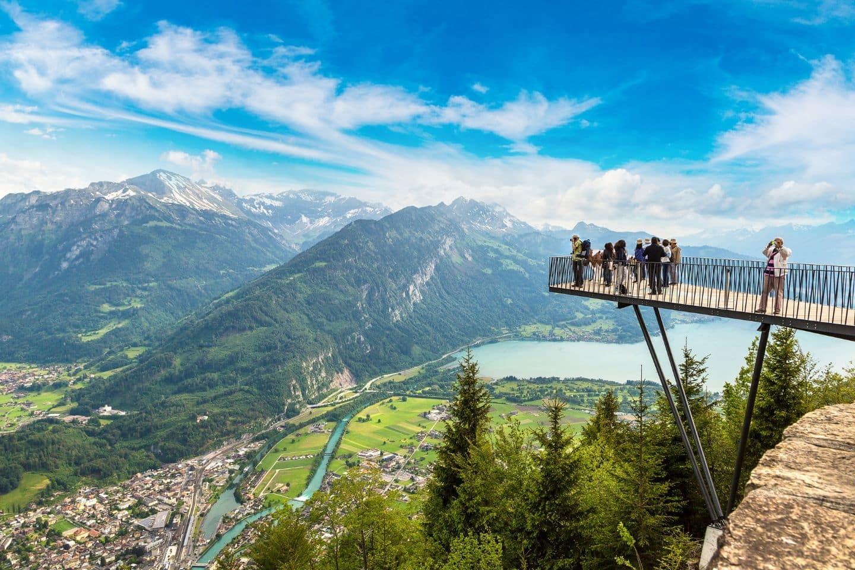 People on an observation desk in Interlaken area