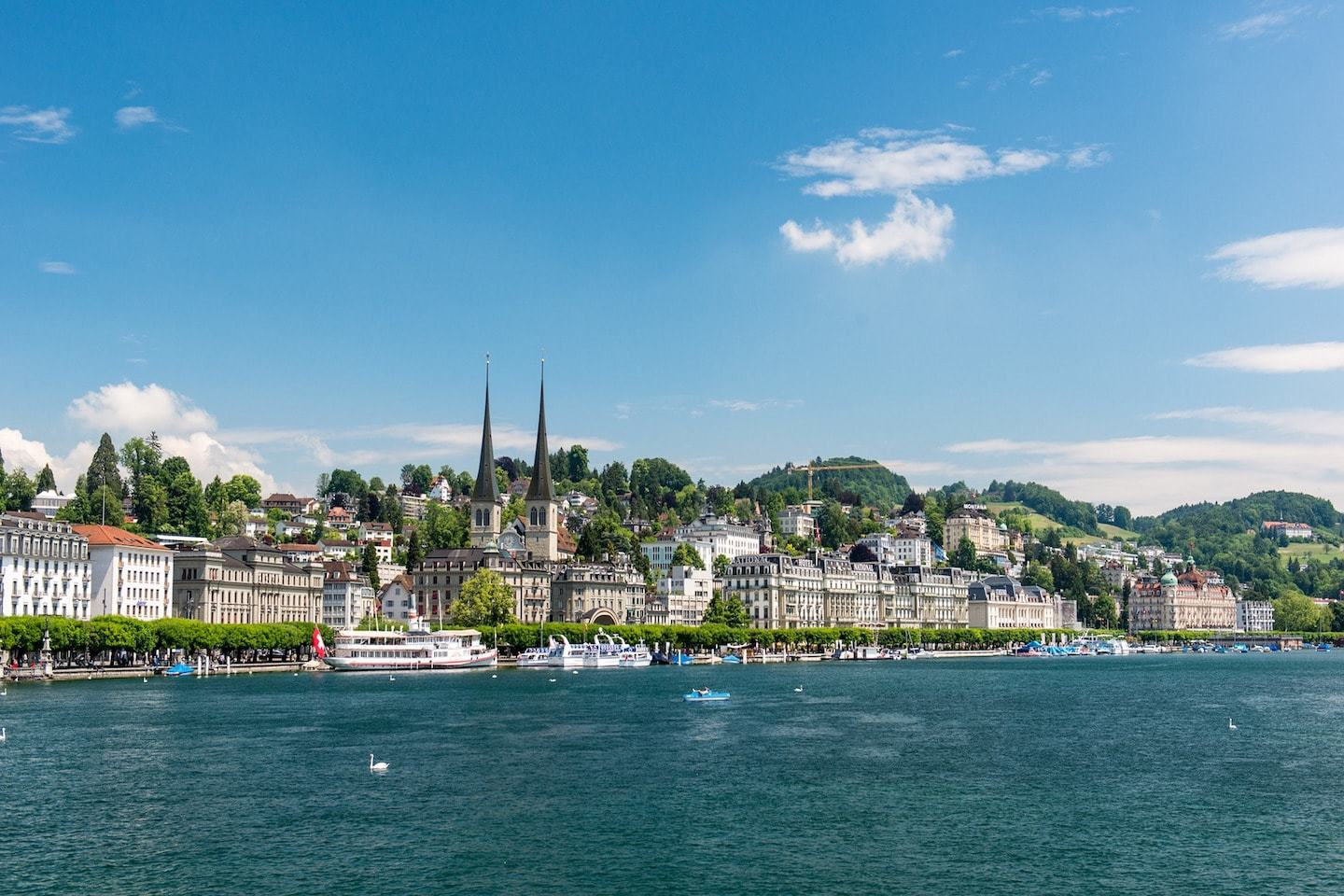 view from lake lucerne of the city