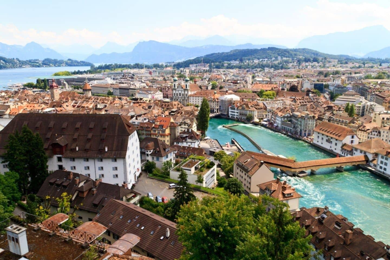 aerial view of Lucerne, Switzerland