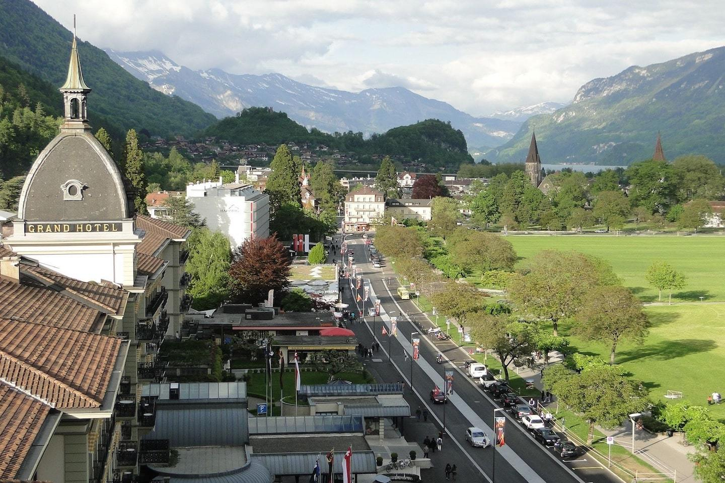 aerial view of interlaken town centre