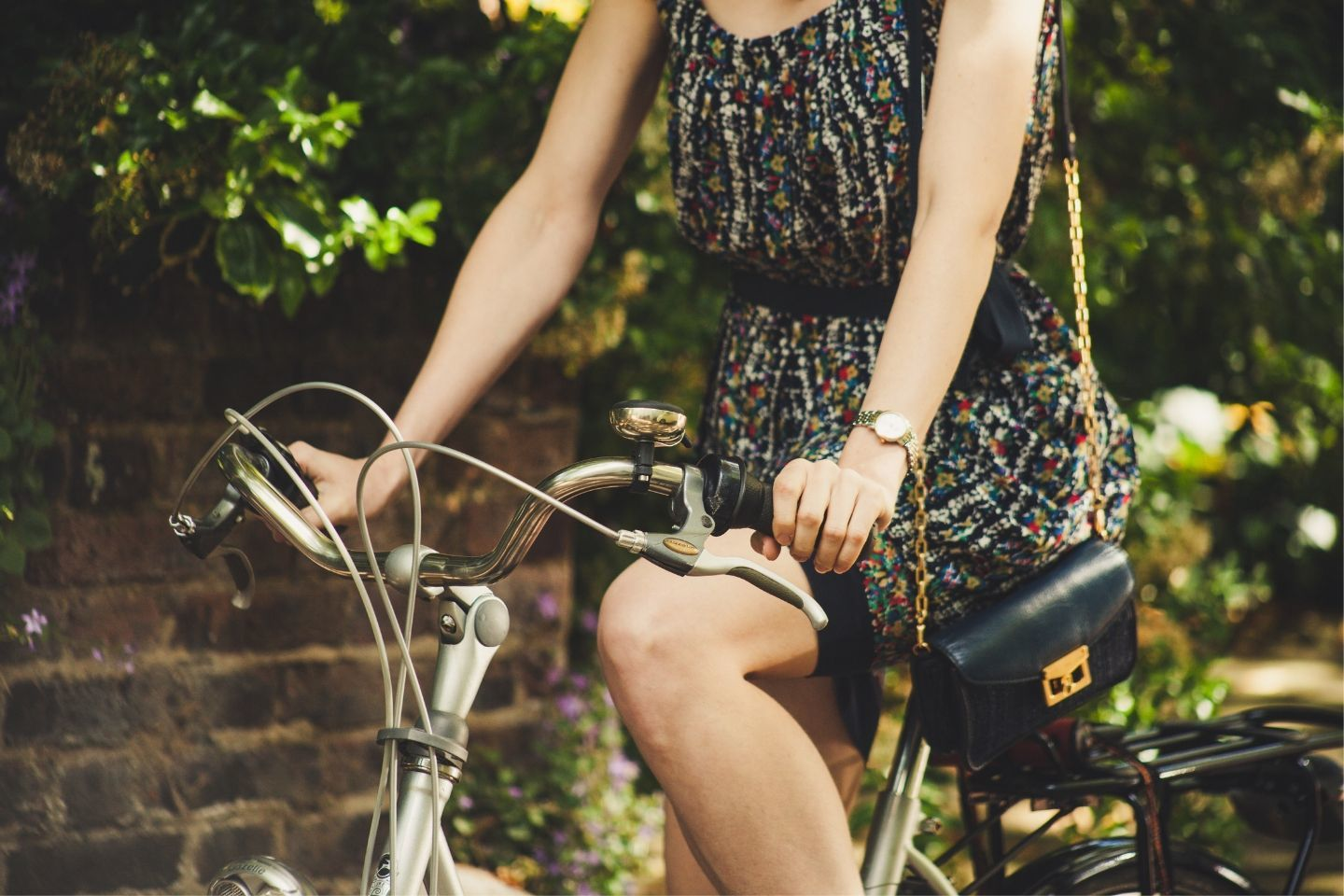 woman cycling in summer