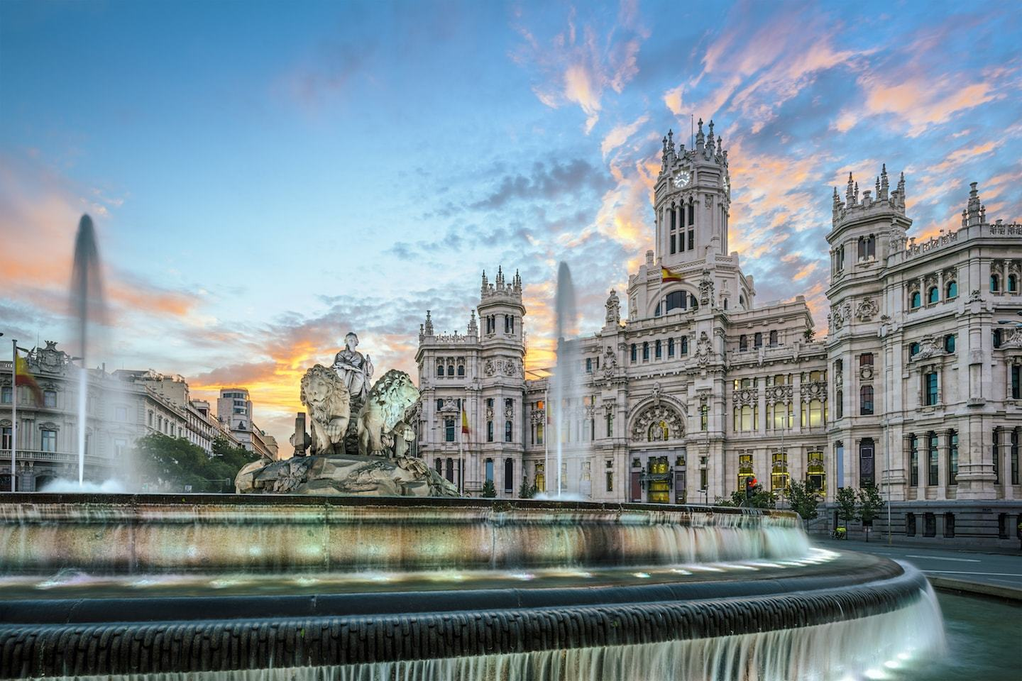 Cibeles plaza madrid at sunset