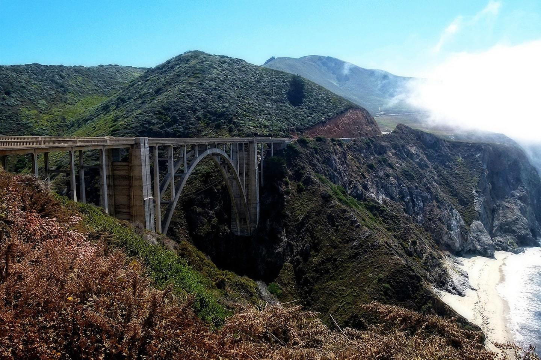 california bridge in between mountains