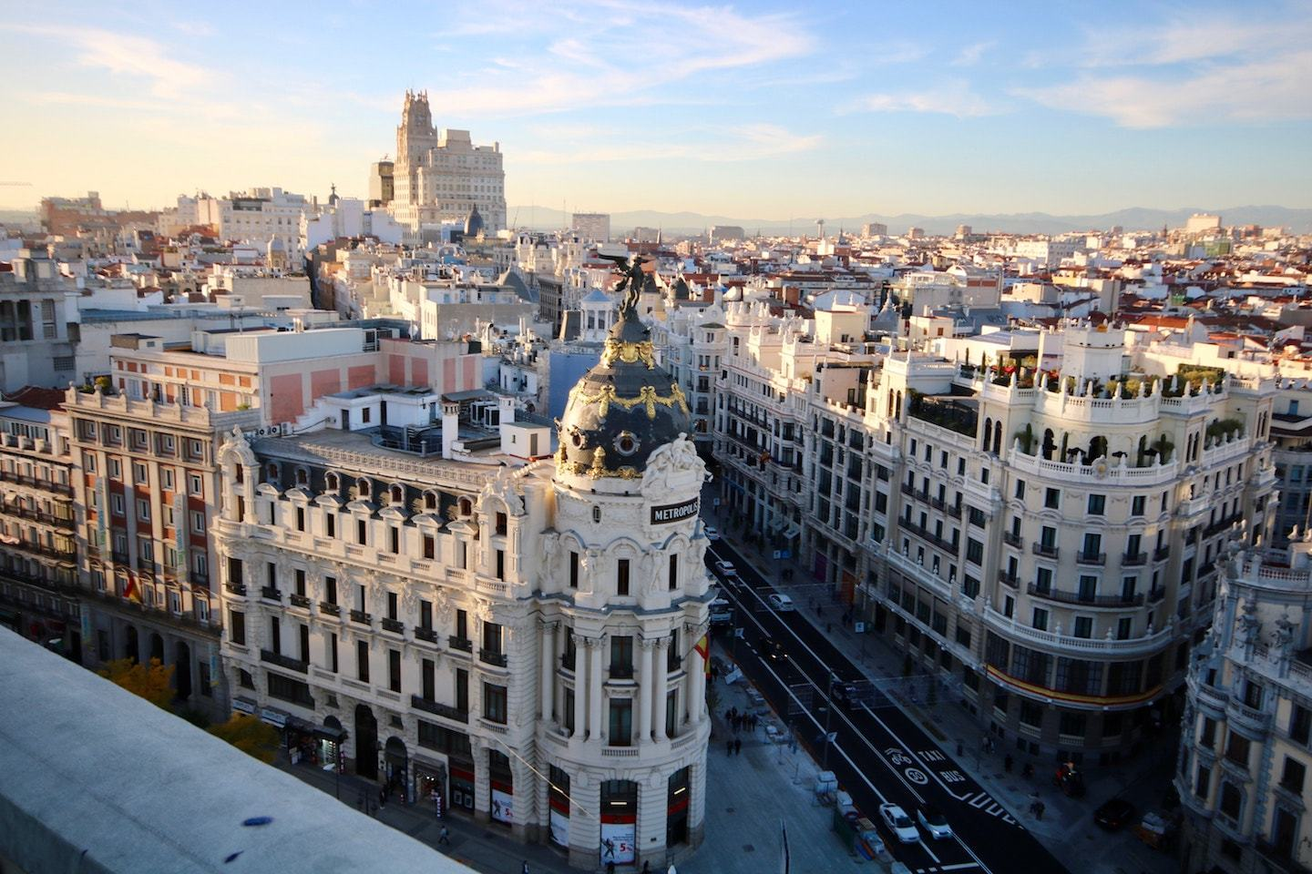 view from above of downtown madrid spain
