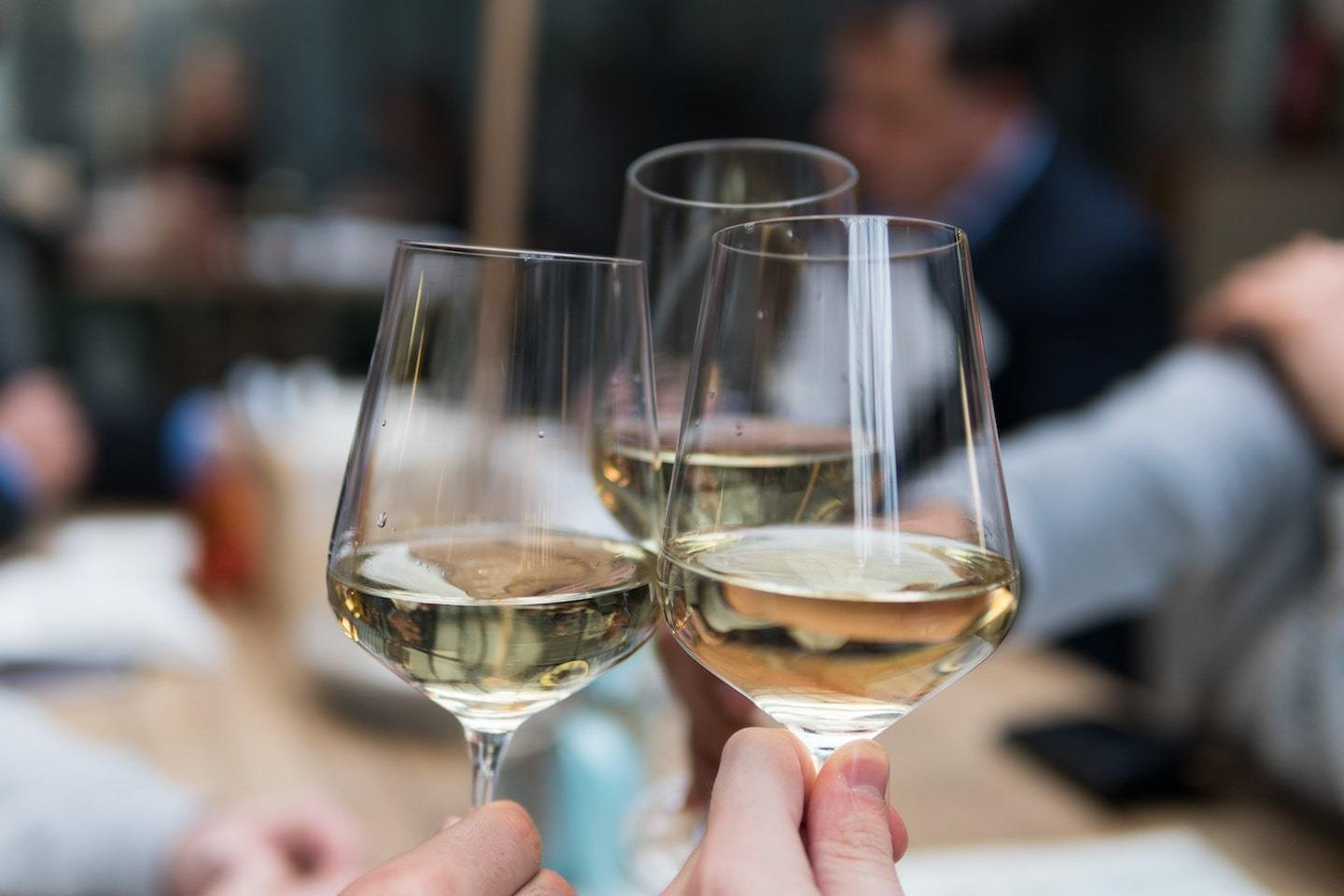 people toasting with white wine