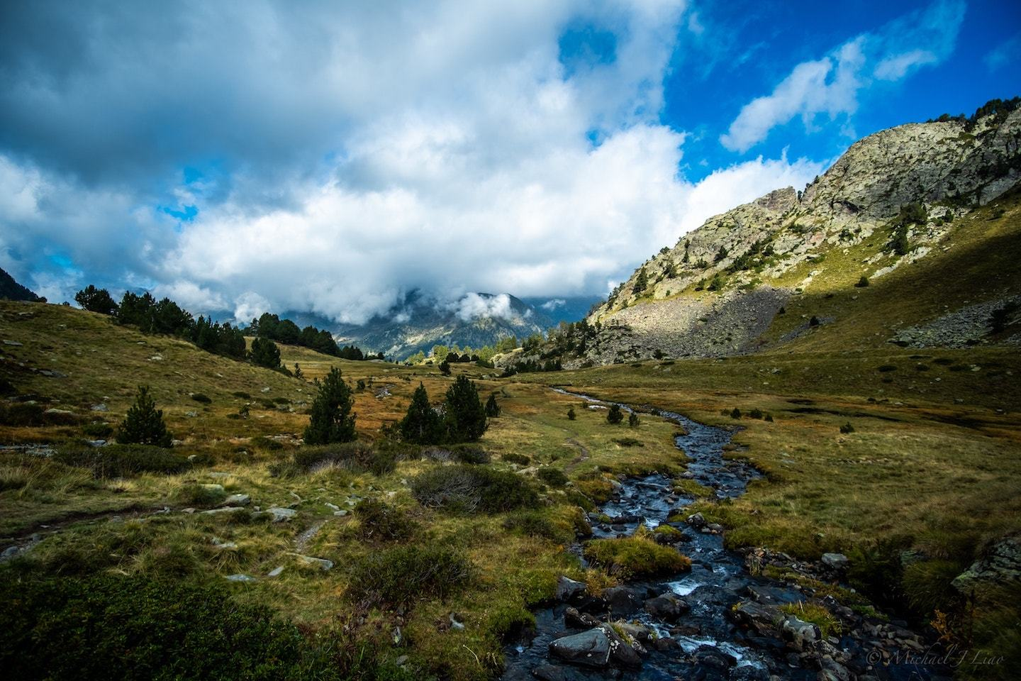 mountains with trees and stream in the pyrenees mountains in spain