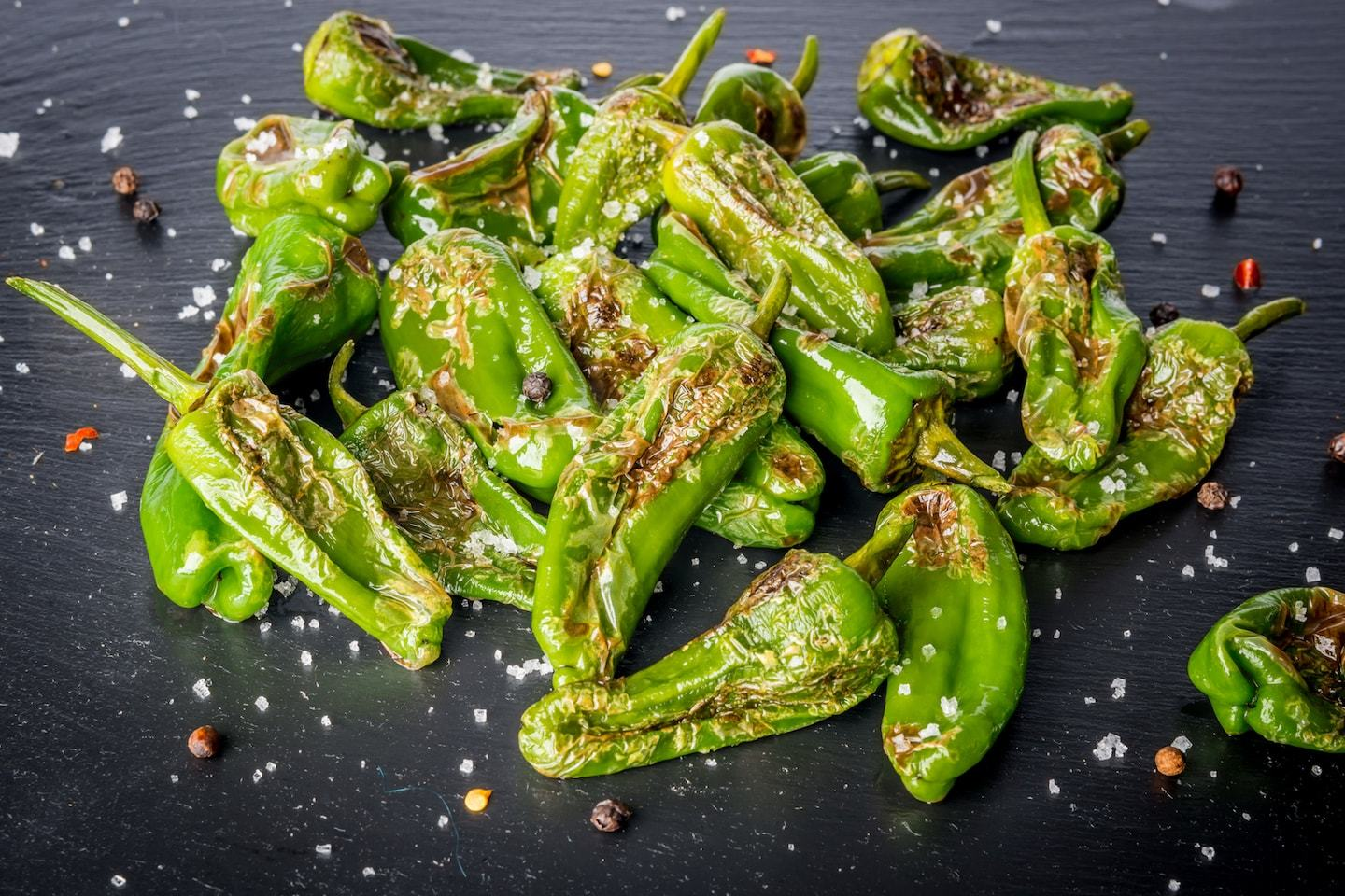 blistered green peppers