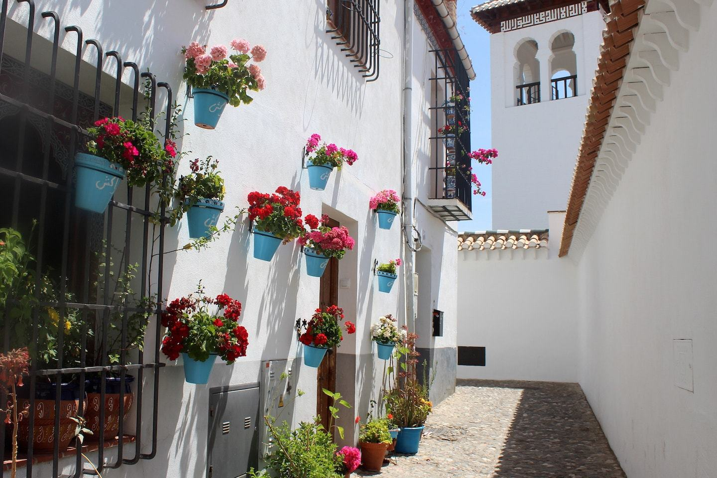 white buildings, narrow street and flower pot on walls